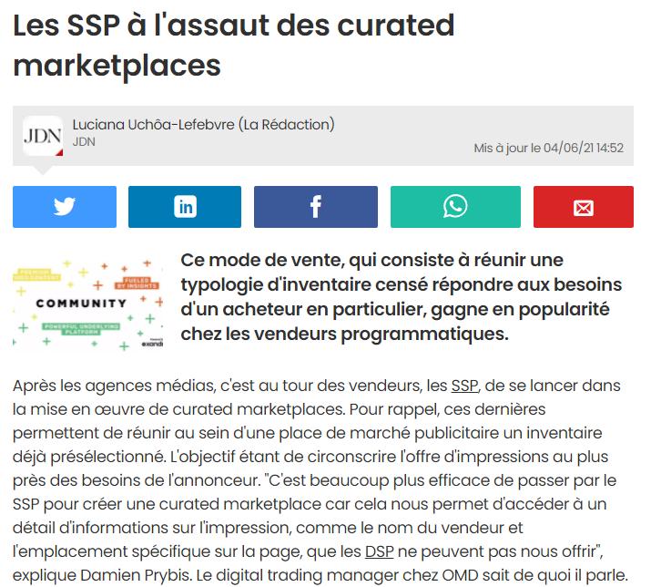 Les SSP à l'assaut des curated marketplaces (JDN, été 2021)